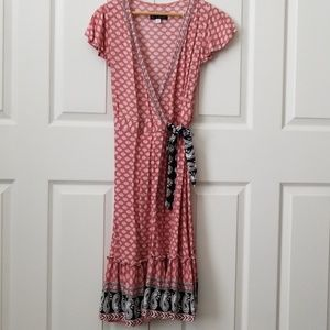 Francesca's rose wrap midi dress
